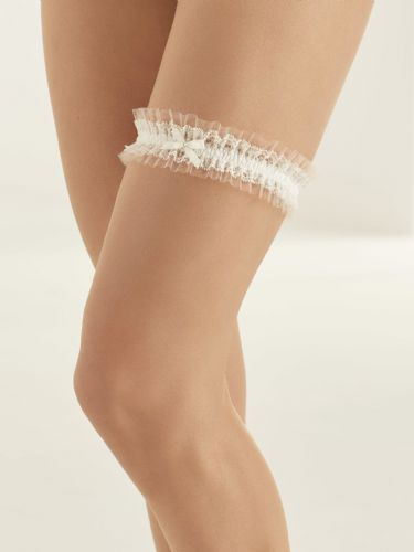 ivory bridal garter with blush satin band, Swarovski crystals